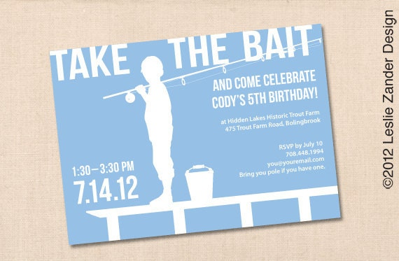 Fishing personalized printable birthday party invitation diy for Fishing birthday invitations