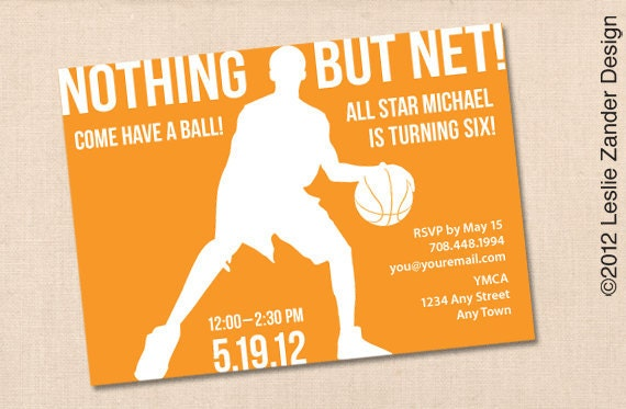 Nothing But Net Basketball Personalized Printable Birthday