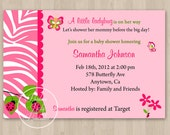 Pink Ladybug Butterfly Baby Shower Invitation - DIY Custom Printable