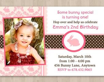 Pink and Brown Bunny Birthday Invitation - DIY Custom Printable