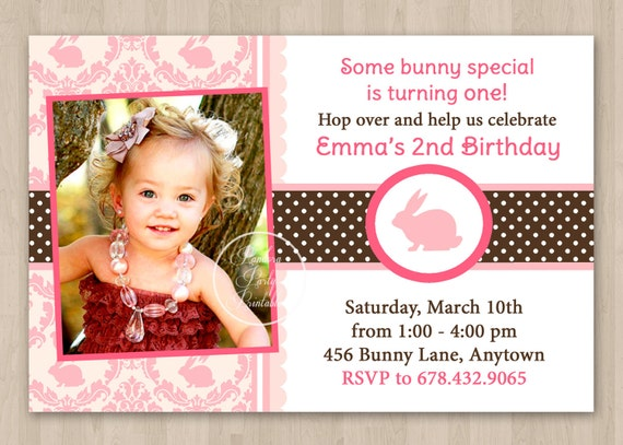 Pink and Brown Bunny Birthday Invitation - DIY Custom Printable