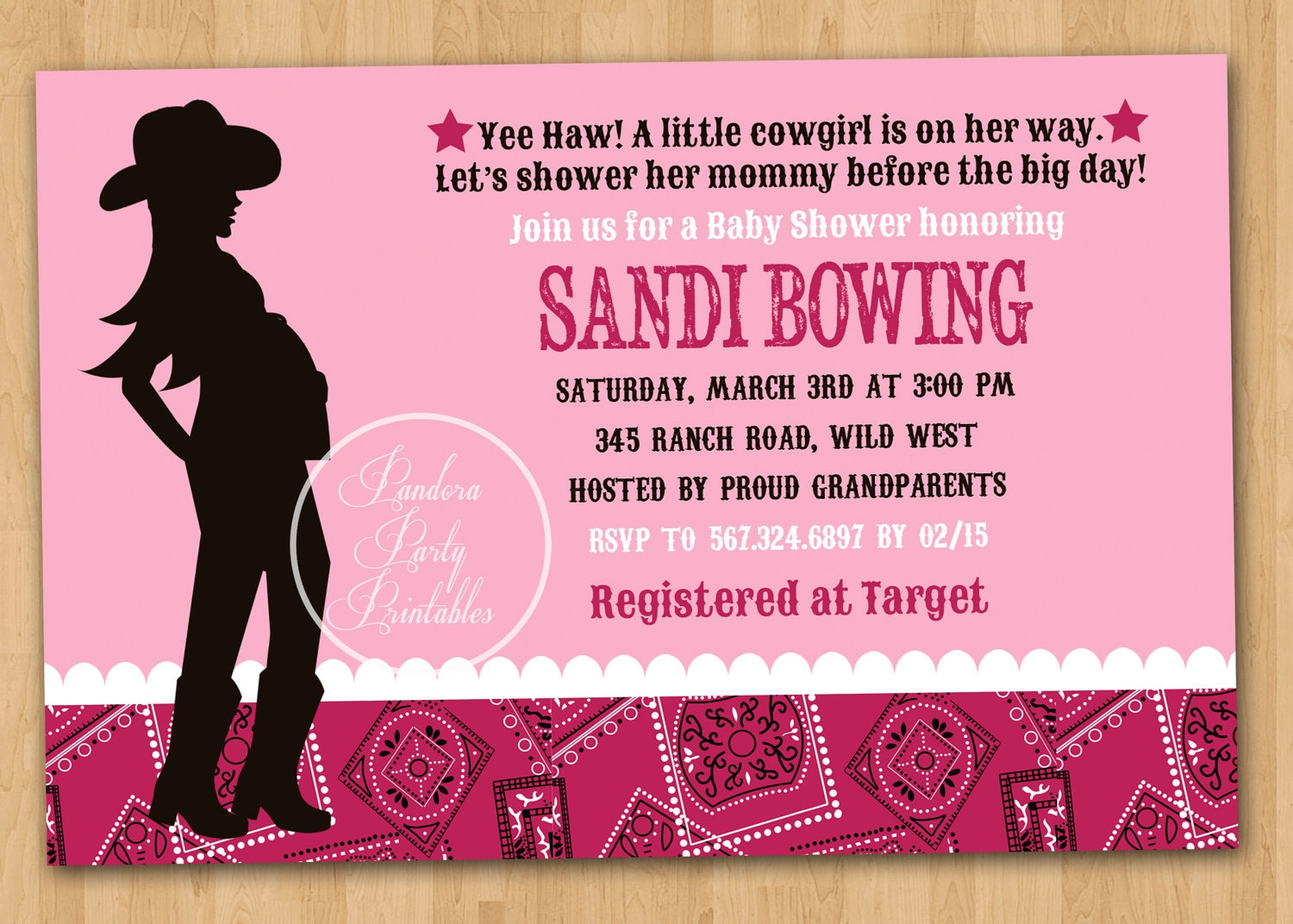 modern cowgirl baby shower invitation diy custom printable