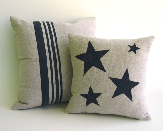 Down & Feather Inserts Included with Natural Canvas Covers with Hand-Painted Navy Blue Stars and Stripes, Pair