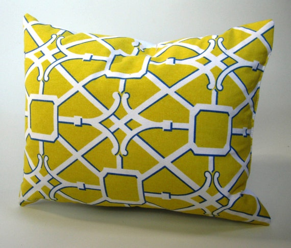 Down & Feather Pillow Insert Included with Yellow, Blue and White Geometric Lattice Patterned Cover (Savings on Two or More)