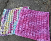 Crochet Dish or Wash Cloth in Pink, Yellow, Teal, White and Lavendar