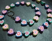 "Love Heart Collection: ""Green to Purple Hearts"" Kitsch Polymer Clay Necklace 16 inch"