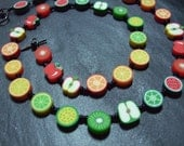 Tutti Frutti Collection Rainbow Fruits Kitsch Polymer Clay Necklace 20 inch Repeat Pattern