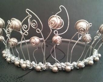 LEAVES AND BUDS Crystal Platinum Swarovski Pearl Tiara