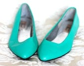 Bright Turquoise 80's Leather Flats (10)