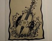 Cello, handmade card