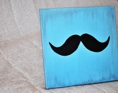 Canvas Art - Hand Painted Blue Distressed Canvas with a Black Moustache 12x12 art piece