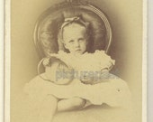 Victorian antique CDV photograph of little girl with basket