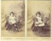 Antique Victorian CDV photograph, 2 portraits of children