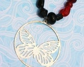 Vintage Butterfly Beaded Charm Necklace