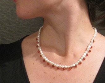 Carnelian and fresh water Pearl necklace and earrings - PzVE0001