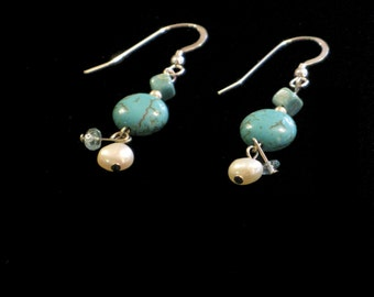 Turquoise, Aquamarine and fresh water Pearl Earrings PzVE0006