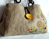Hand embroidered linen and cotton tote bag/every day bag/eco bag/with brown wooden handles