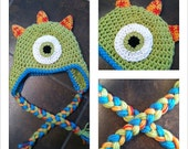 Custom Monster Earflap Hat (Newborn-Child)