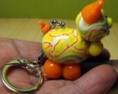 Orange Sherbet Piglet  Ooak Keychain charm