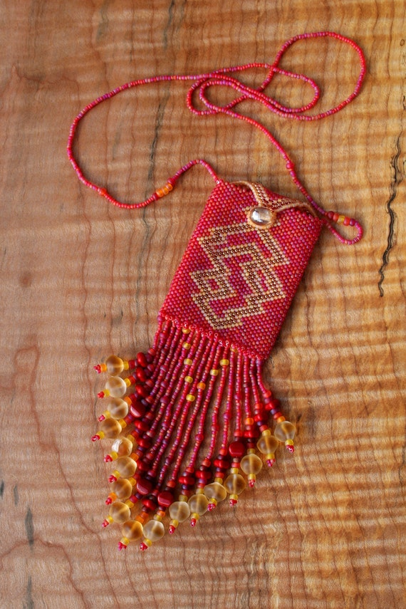 Items Similar To Sunset Lightning Beaded Amulet Bag On Etsy