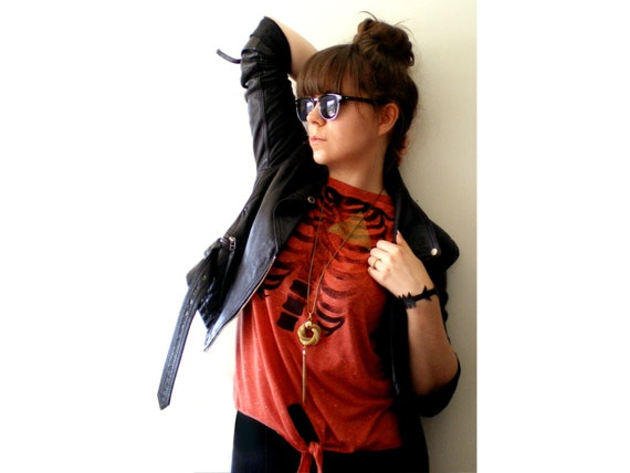 LAST ONE - Geometry Of The Heart - Hand Printed Vest - Burnt Orange, size Large