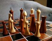 Mid Century Modern Hermann Ohme Wooden Chess Set Minimalist