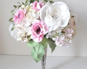 Sweet pale pink handmade wedding bouquet. paper flowers among fabric flowers with brooches by Alternative blooms on ETSY