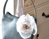 Pewter shimmer purse with shabby pale pink vintage bloom