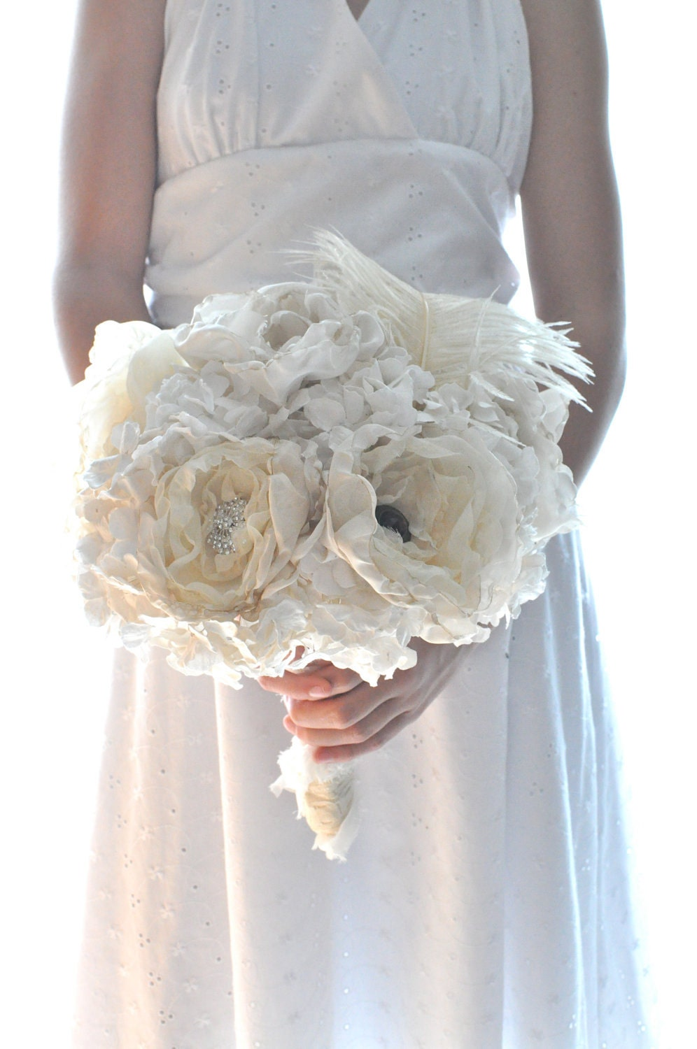Shabby and chic paper flower wedding bouquet by for Bouquet chic