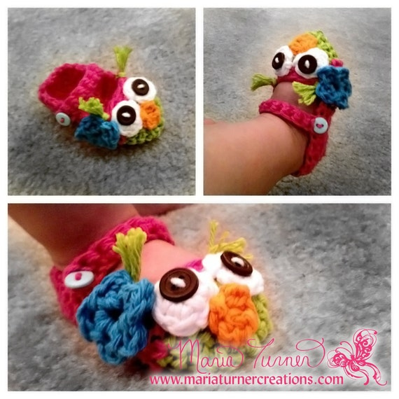 Items similar to Crochet Owl Mary Jane Baby Booties on Etsy