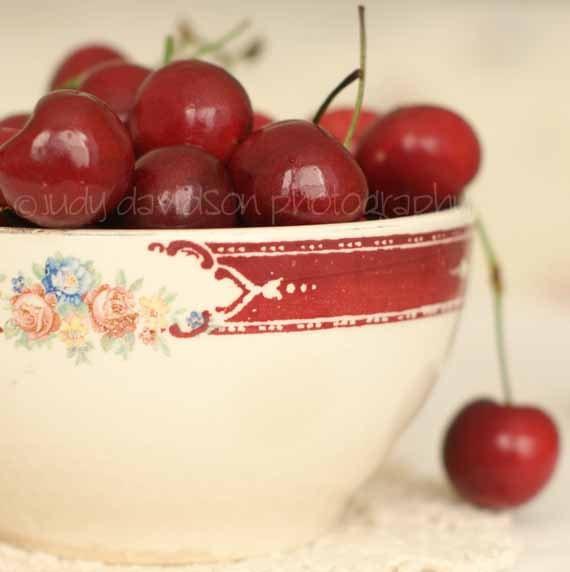 "Cherries -  Grandma's Bowl With Cherries - Print - Food Photography ""Cherry Bowl"" - Kitchen Art (5x5 Original Photograph)"