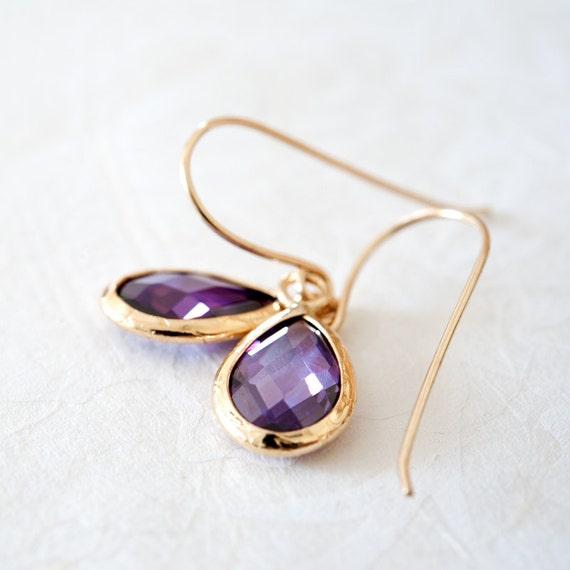 Amethyst zircon earrings (gold filled)