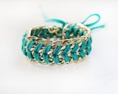 Weaved Bracelet with Light Gold Chain and Dark Turquoise Silk Lace