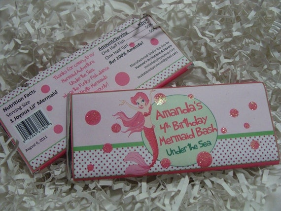 Ocean Mermaid Pink and Green Candy Bar Wrapper - Chocolate Bar Favor - For Girl Sea-themed Birthday Party