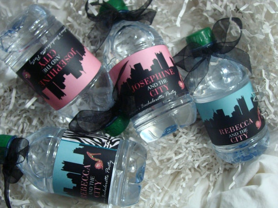 Sex and the City Water Bottle Wrappers - For Her Bachelorette Party, Birthday, Bridal Shower
