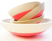 Wooden Salad Bowl Set of 5 by Wind and Willow Home, neon pink, wooden bowl, wedding gift, house warming gift