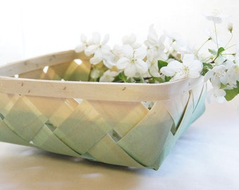 Woven Wood Basket, Hand Dipped in Mint Green