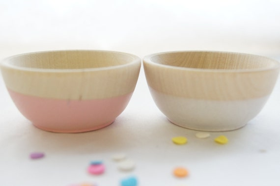 Wooden Mini Bowl Set of Two: Light Pink and White.  Party Decor, Cooking/Kitchen.
