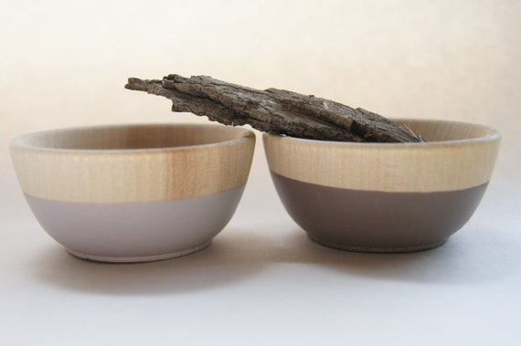 Wooden Mini Bowl Set of Two: Lavendar and Mink Brown