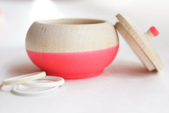 Neon Pink Mini Treasure Pot by Wind and Willow Home, ring box,  engagement, special jewelry box