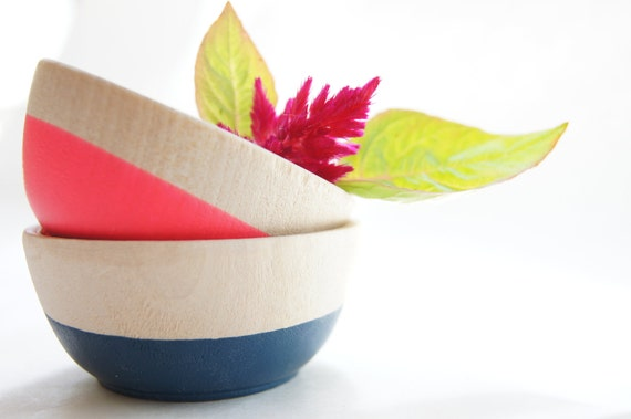 Wooden Mini Bowl Set of Two: Neon Pink and Nite Blue.
