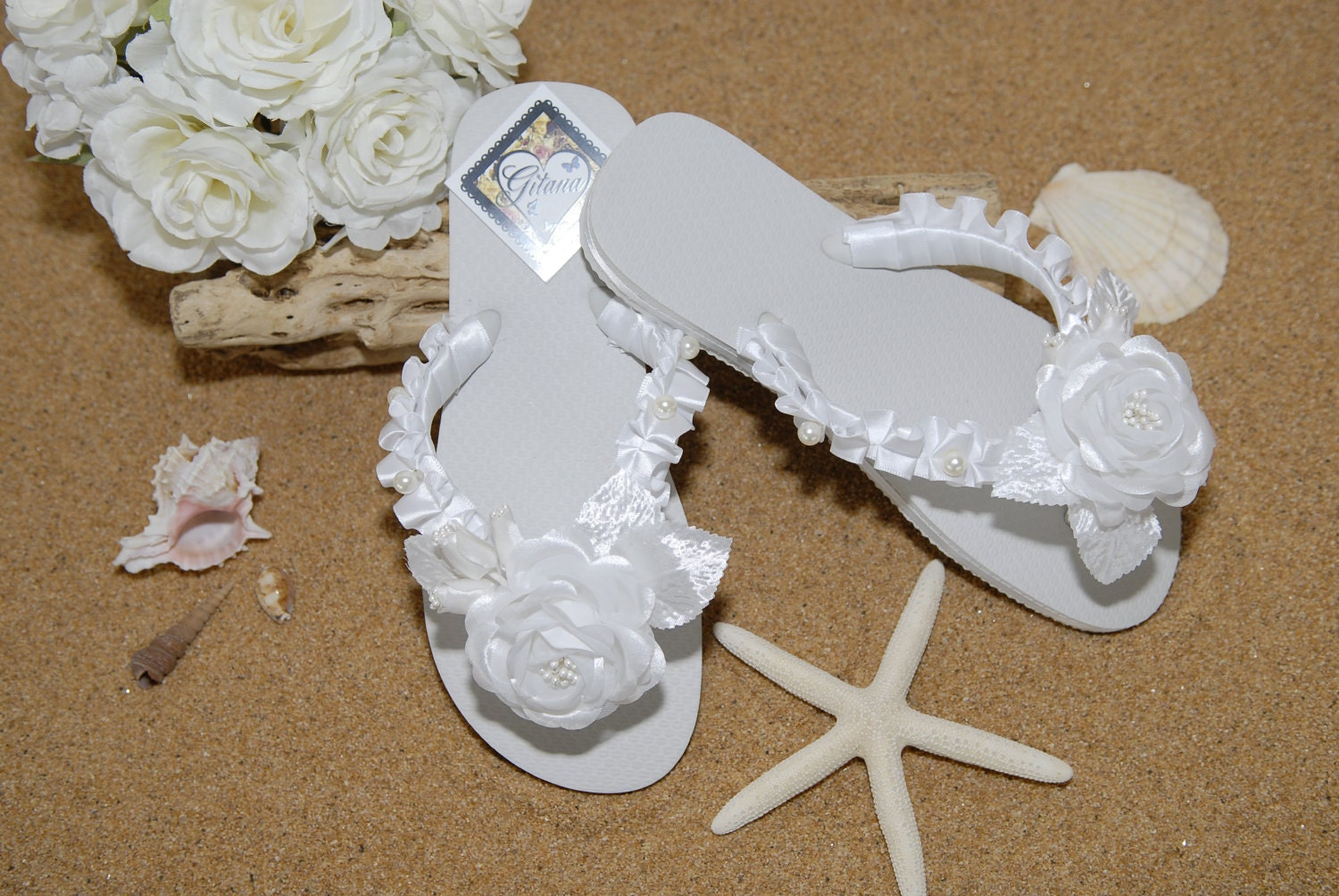 beach wedding white flip flops white wedding decorated flip flops