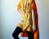 crop caftan dress. summer tunic. tropical orange and indian silk print. one size. in stock.