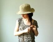 handmade straw hat. crochet hemp and floppy brim. one size. made to order in 3 days.