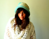 handmade crochet cloche. summer hat with short brim. mint blue with hand dyed mandala design. ooak. one size. in stock