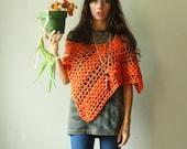 loose knit lace shawl. crochet summer poncho. tangerine orange. one size. ready to ship.