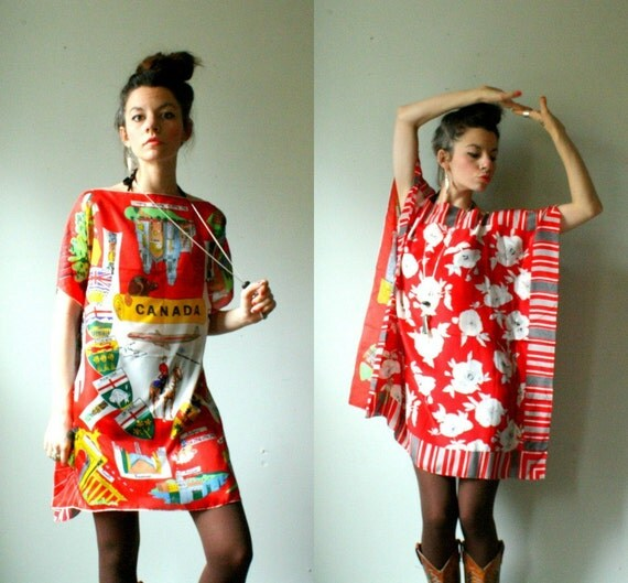 handmade bat wing tunic silk caftan dress. canadian red floral print. one size. in stock.