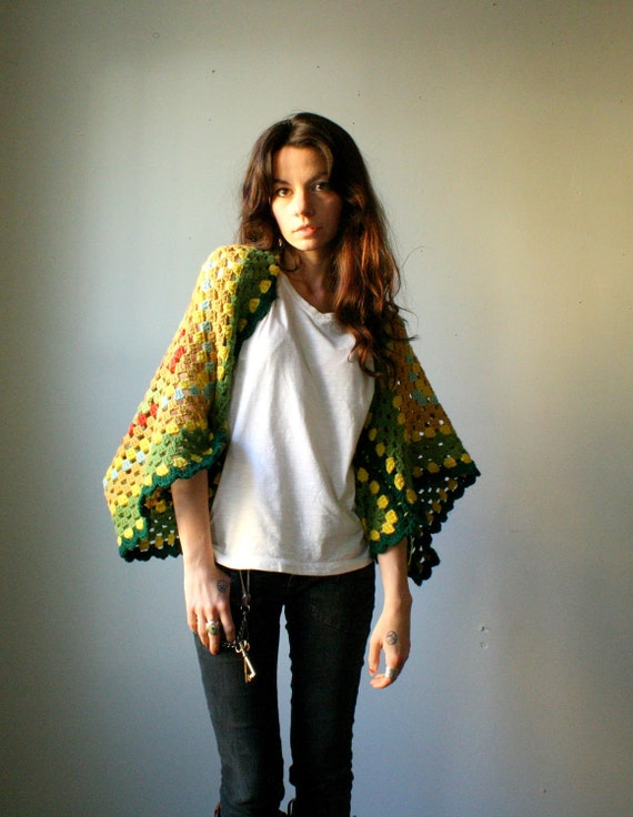 handmade shrug. kimono sleeve poncho sweater. granny square and boho chic. one size. in stock.