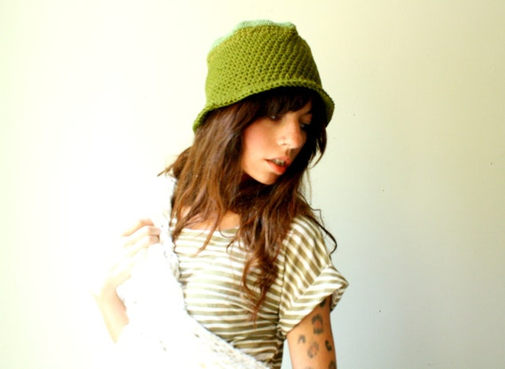 little green stocking cap. spring cloche. hat with short brim. two tone green emerald and sage. one size.