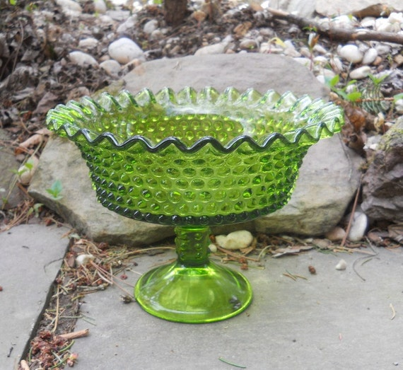 Fenton hobnail lime green compote